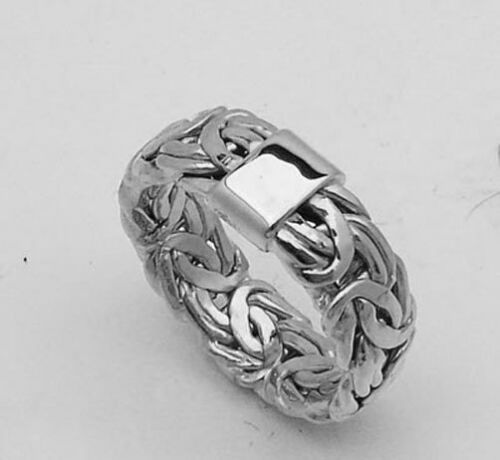 All Shiny Byzantine Band Ring Genuine Real 14K White Gold 7.30mm STAMPED 14K