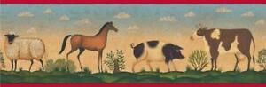 Brewster-FARM-ANIMALS-Wall-Border-6-8-x15ft-Horse-Pig-Cow-Country-Home-Decor-NEW