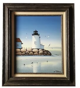 1982-TIM-WISTROM-Seascape-Lighthouse-Expressionist-Painting-PACIFIC-NW-SIGNED