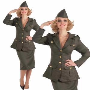 Adultes-Costume-Armee-1930s-1940s-Femmes-Uniforme-Deguisement-Militaire-Monde