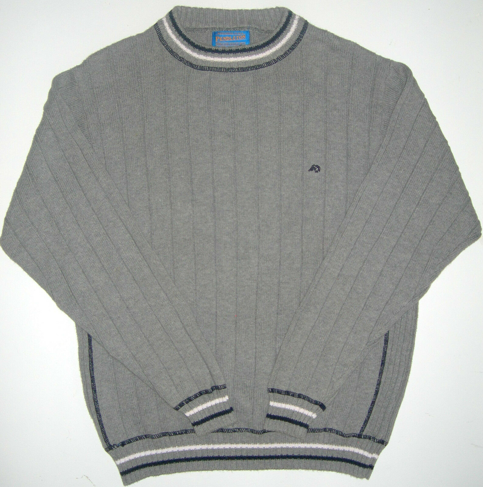 Mens L Pendleton Grey Heavy Ribbed Cotton Sweater [302435675347 ...