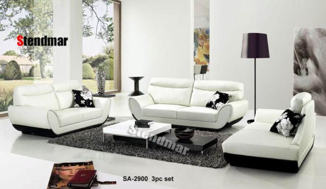 3PC MODERN EURO DESIGN LEATHER SOFA SET SA2900 for sale online | eBay