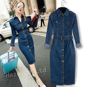2bab463ccec4f Womens Lapel Belt Shirt Dress Sleeve Denim Jeans Bodycon Split ...