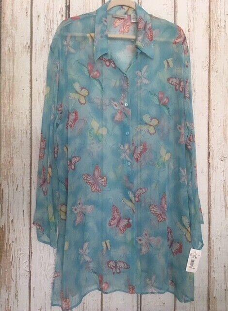 2X New Silk Drapers Damons Aqua Butterflies Duster Kimono Bathing Suit Cover-up