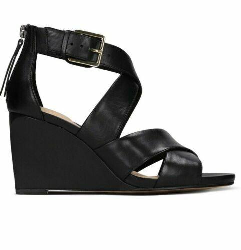 Ladies Ysabelle Jules Black Leather Wedge Sandals Clarks women