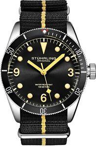Stuhrling-Forti-3958-Men-039-s-Quartz-Miyota-41mm-10-ATM-Nylon-Strap-Diver-Watch