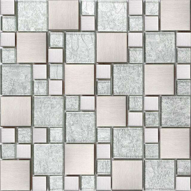 1 Sq M Silver Gl Brushed Stainless Steel Bathroom Mosaic Wall Tiles 0048