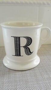 Anthropologie Letter R Initial Monogram Shaving Mug White/Black Coffee Mug Cup