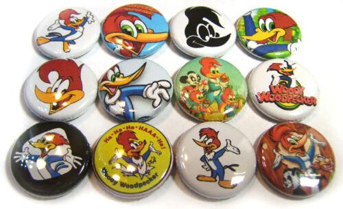 "12 WOODY WOODPECKER 1/"" Buttons ONE Inch Badge Walter Lantz Cartoon Show Pinbacks"