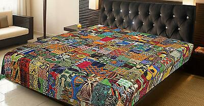 Handmade Twin Size Cotton Bedspread Kantha Patchwork Quilt Coverlet Throw Indian