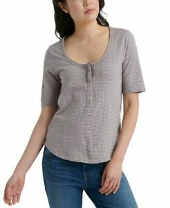 Lucky-Brand-Womens-Top-Gray-Size-Medium-M-Striped-Button-Front-Tie-Neck-49-258