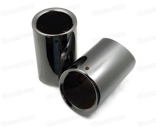 2x Car Exhaust Muffler Tip Tail Pipe Trim Black for BMW 5-Series 2008-2016 #4076