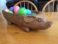 Large Pig Bowl Resin Treen Whimsical Folk Art