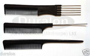 Pin-de-metal-cola-peine-de-plastico-comb-4-Puntas-Cola-De-Rata-Metal-Pin-Peine-Negro-PKT3