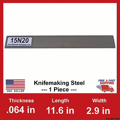 "1//16 in x 11.6/"" x 2.9/"" 15N20 Carbon Steel Bar Billet 1 Billet .064/"""
