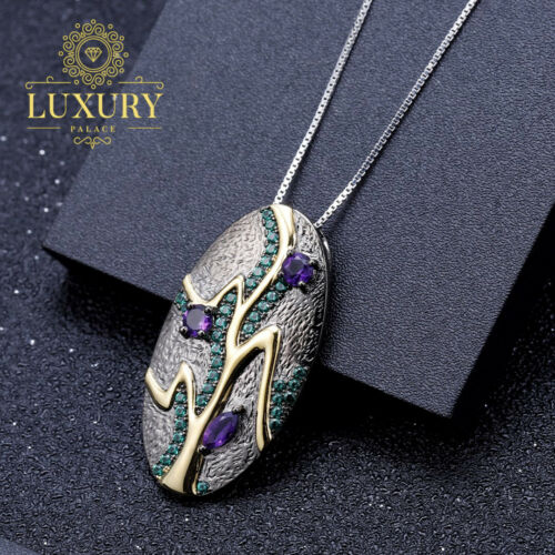 1.07 CT naturel Amethyst Solid 925 sterling silver handmade Feuille Collier Pendentif