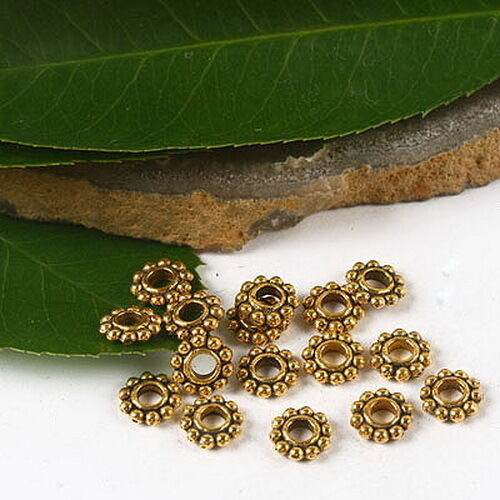 100pcs Dark Gold-Tone 6 mm Large Daisy Flower Spacer Beads h2288