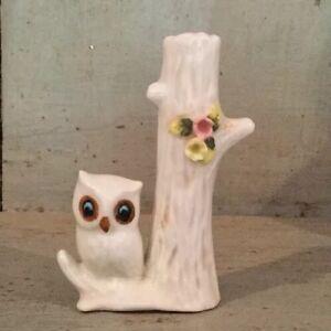 Vintage-Porcelain-Tree-Trunk-Bud-Vase-with-Owl-Small-Single-Stem-Vase