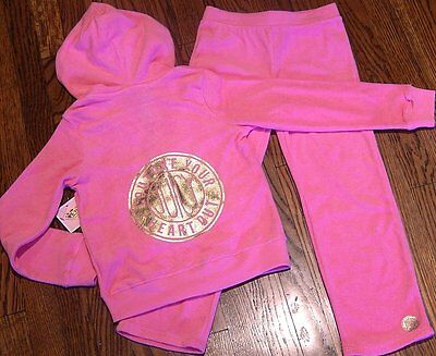 JUICY COUTURE TODDLERS GIRLS BRAND NEW PINK 2Pc SET HOODED SPORT SUIT Sz 4T, NWT