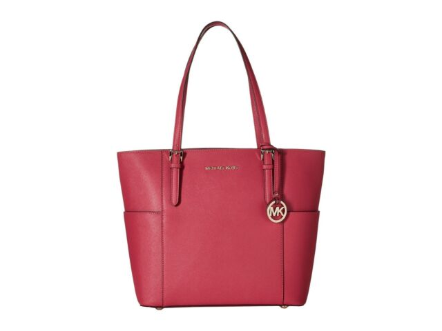 665f3aee017e Michael Kors Jet Set Travel Saffiano Leather Top Handle Large Tote (Ultra  Pink)