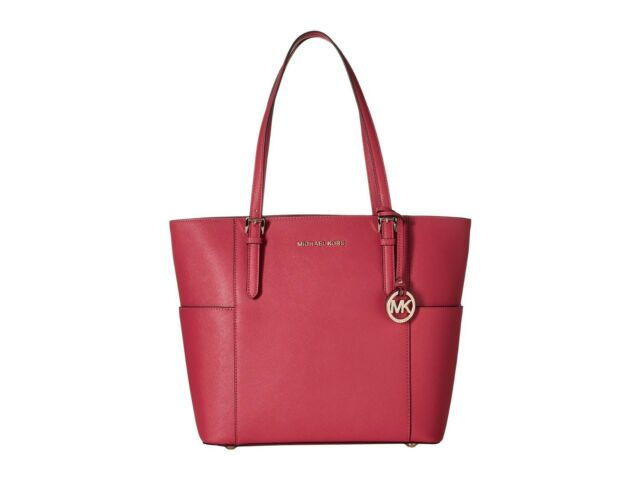 7695629bb29b Michael Kors Jet Set Travel Saffiano Leather Top Handle Large Tote (Ultra  Pink)
