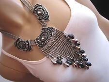 Damen Collier Hals Kette Modekette kurz Modeschmuck Silber Schwarz Statement