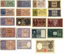 Lotto Italia 19 Banconote Regn Umbert I ,Vitt.Eman III,Fascio(Riproduzione/copy)