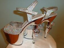 "Pleaser Stripper Exotic Silver 3"" Platform/ 7"" REVOLVER Heels Size 7.5-8 EUC"