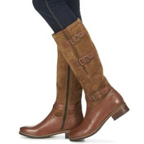 Clarks LADIES EQUESTRIAN Long Jambe Bottes Tamro MARINA Marron Combi UK 3.5 36