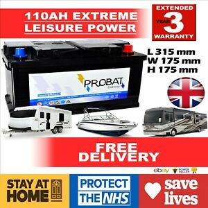 110AH-Leisure-Battery-Low-Height-maintenance-free-sealed-for-life-NEW-AUTOELITE