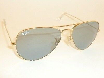New RAY BAN Aviator Sunglasses Gold Frame RB 3025 001/62  Light Blue Lenses 62mm