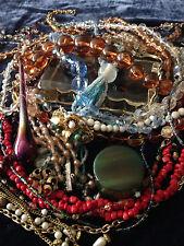 Jewelry Lot 4 - VINTAGE ESTATE Art Deco Beads Amber Jade Turquoise Stevie Nicks