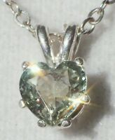 Natural Green Montana Sapphire 4mm Heart .925 Sterling Silver Pendant Necklace