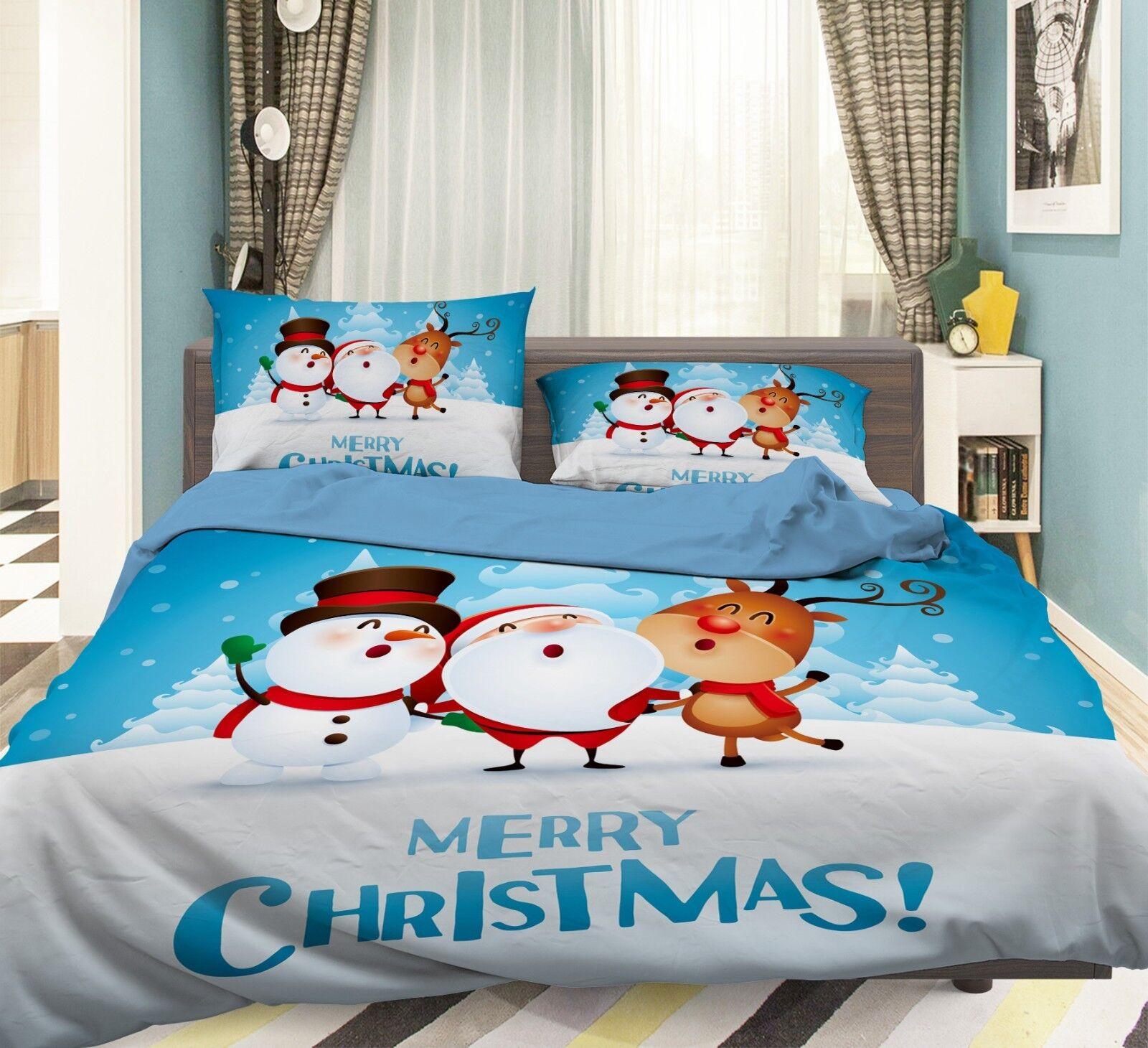 3D Winter Snow 838 Bed Pillowcases Quilt Duvet Cover Set Single King UK Summer
