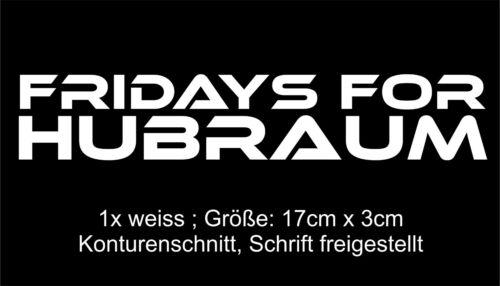 17cm x 3 cm ; Feinstaubplakette 1x Fridays for Hubraum Sticker weiss ; ca