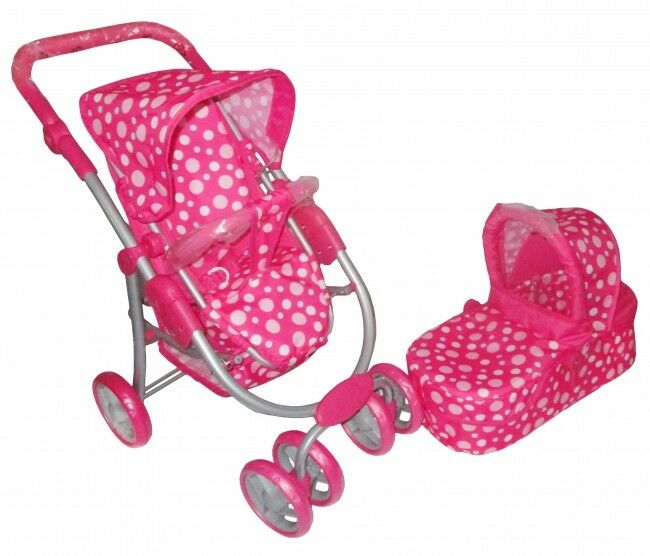 Dolls 3 in 1 Pram Rosa Dots Carrycot And Pushchair Adjustable Handle NEW
