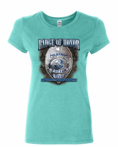 Policeman Badge of Honor Women/'s T-Shirt Police Protect and Serve Cop PD Shirt