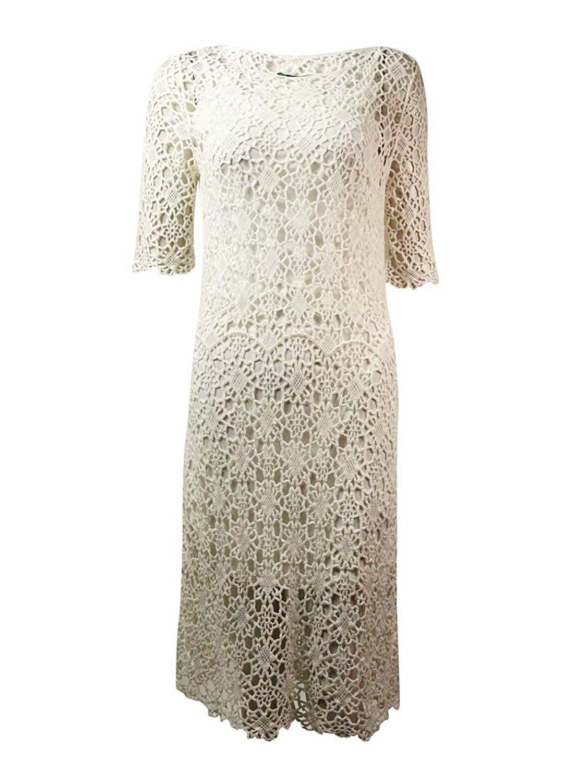 2808-2 Lauren Ralph Lauren damen Lace Elbow Sleeves Casual Dress Weiß PS,