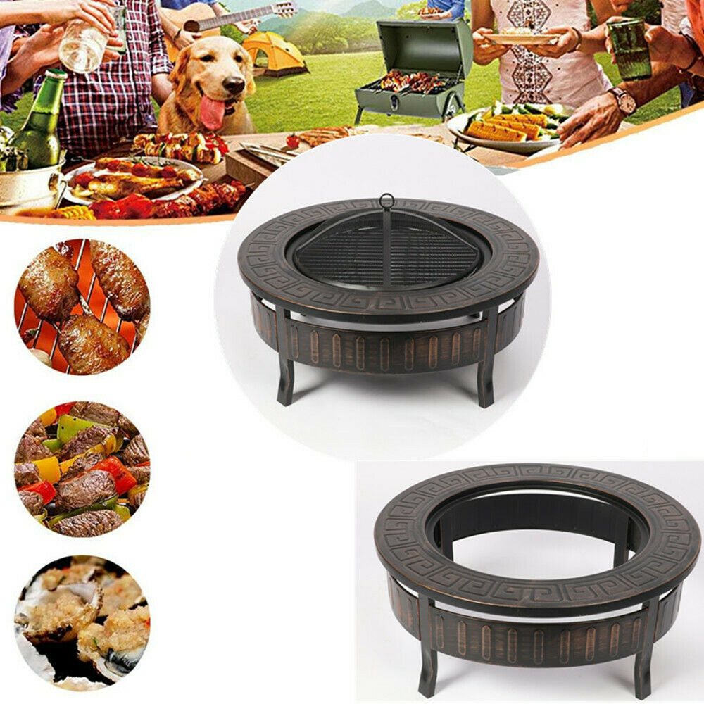 Outdoor Camping Picnic Fire Pit Wood Burning BBQ Grill Firepit Bowl Fireplace