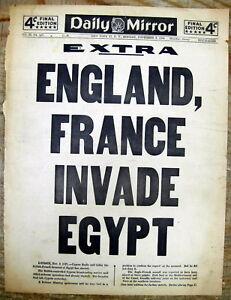 lt-1956-newspaper-extra-ENGLAND-FRANCE-INVADE-EGYPT-aft-Israel-SUEZ-CRISIS-Sinai