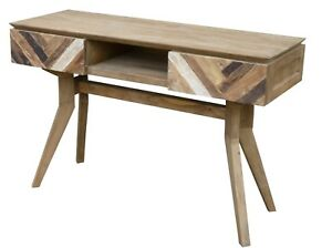 Details About Recycled Teak Wood Brux Art Deco Console Table Tv Stand