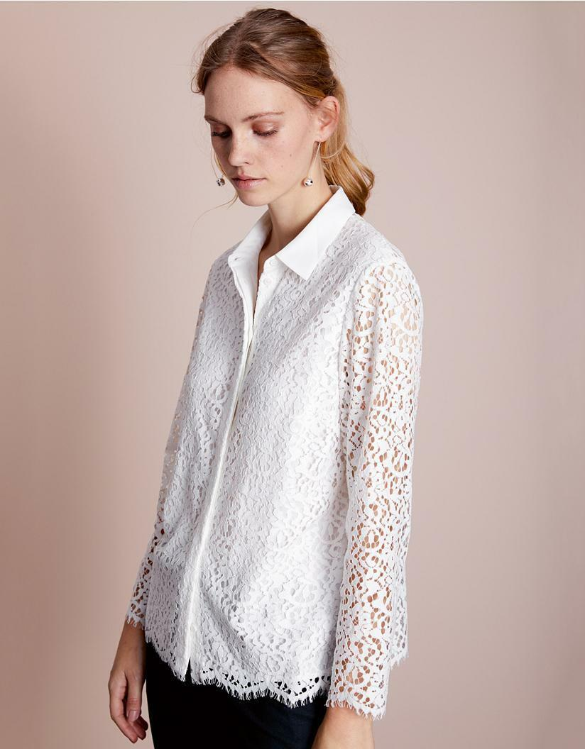 The Weiß Company Lace Blouse Top Shirt Ivory Größe 6 VR139 010