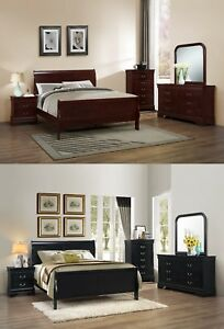 Image Is Loading 5Pc Queen King Sleigh Bedroom Set Louis Philippe