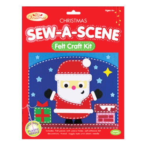 Christmas Sew a Scene Art Children/'s Felt Craft Kit Plastic Needle Wiggly Eyes