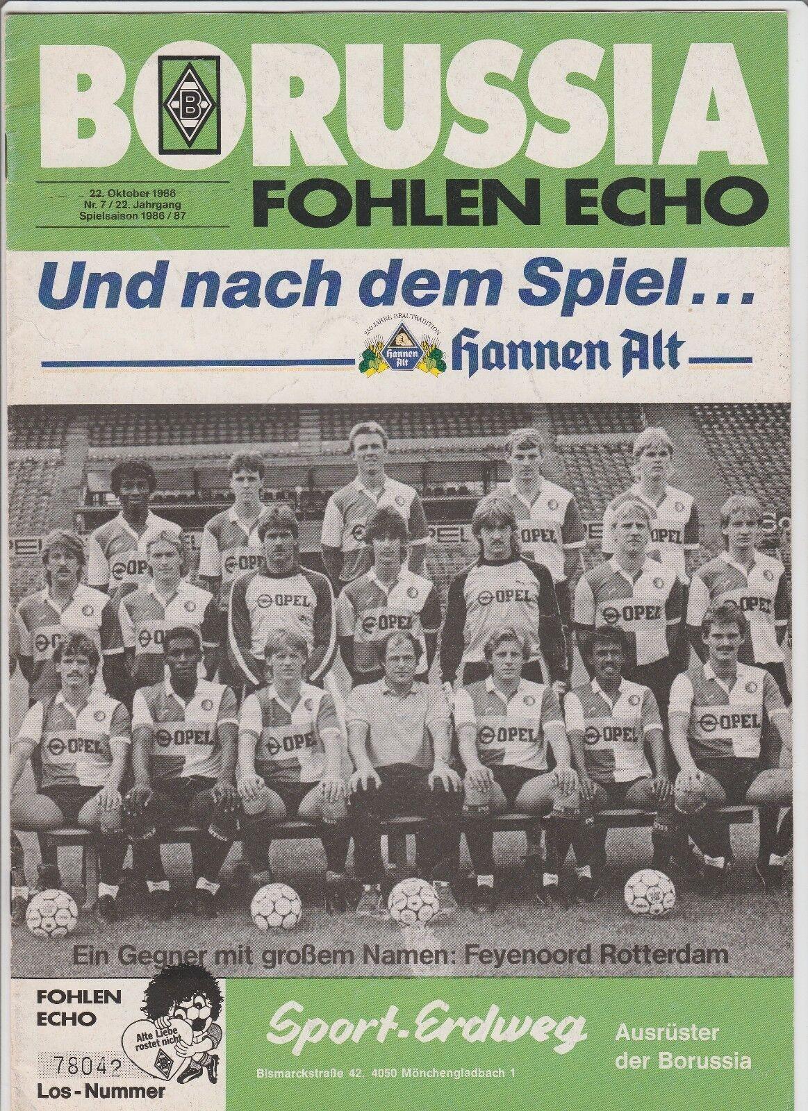 Orig.PRG     UEFA Cup  1986 87  BORUSSIA MÖNCHENGLADBACH - FEYENOORD ROTTERDAM a59cf5