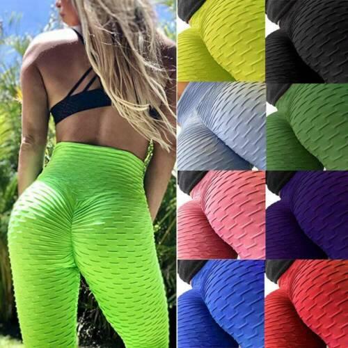 NEW Ladies Yoga Gym Anti-Cellulite Leggings Fitness Solid Butt Lift Elastic Pant