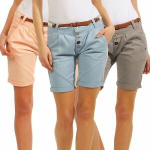 65bec9150139da Sublevel Damen Chino Shorts LSL-331 Frauen kurze Hose Gürtel Bermuda ...