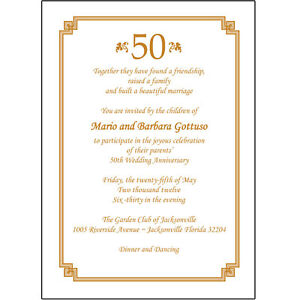 25 Personalized 50th Wedding Anniversary Party Invitations AP009