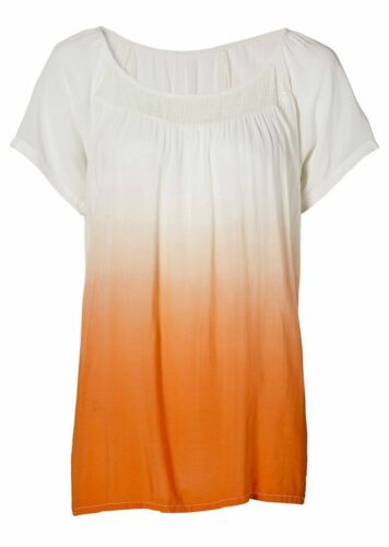 Bodyflirt Tunika Shirt Bluse kurzarm Pailletten Farbverlauf ecru orange 928589