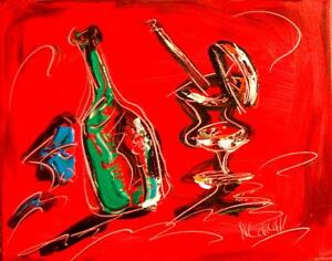 DRINKS-WINE-CHEESE-STILL-LIFE-Abstract-Modern-CANVAS-Original-Oil-Painting